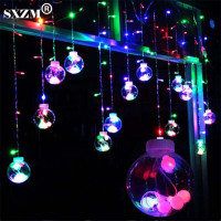 SXZM 2M Led Curtain Light 12pcs Big Ball 108 Leds String Multicolor AC220V With EU Plug