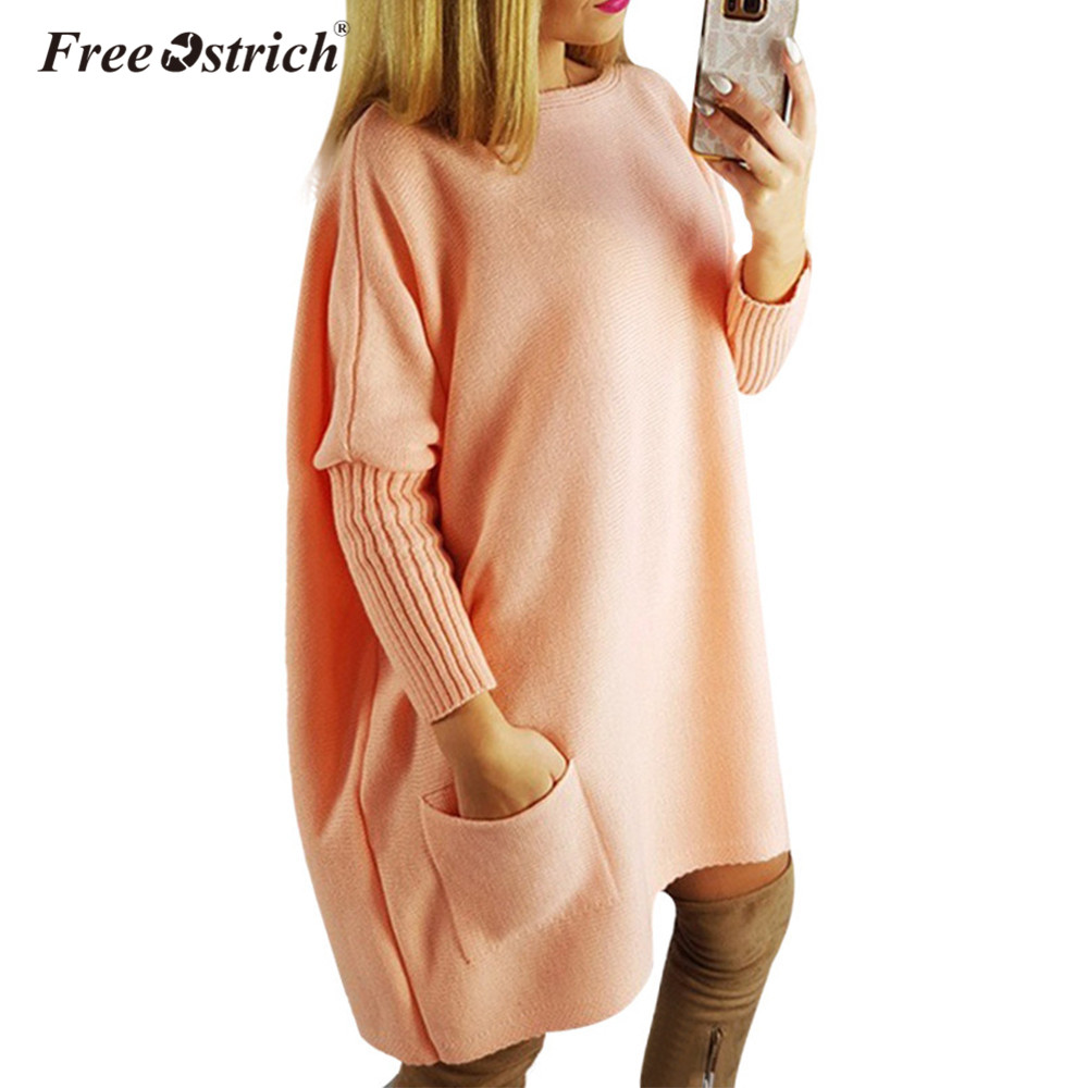 Free Ostrich Dress Women Sweater Autumn Winter Long Sleeve 2018 Casual Loose Knitted Knee-Length Vestido De Festa Dropshipping