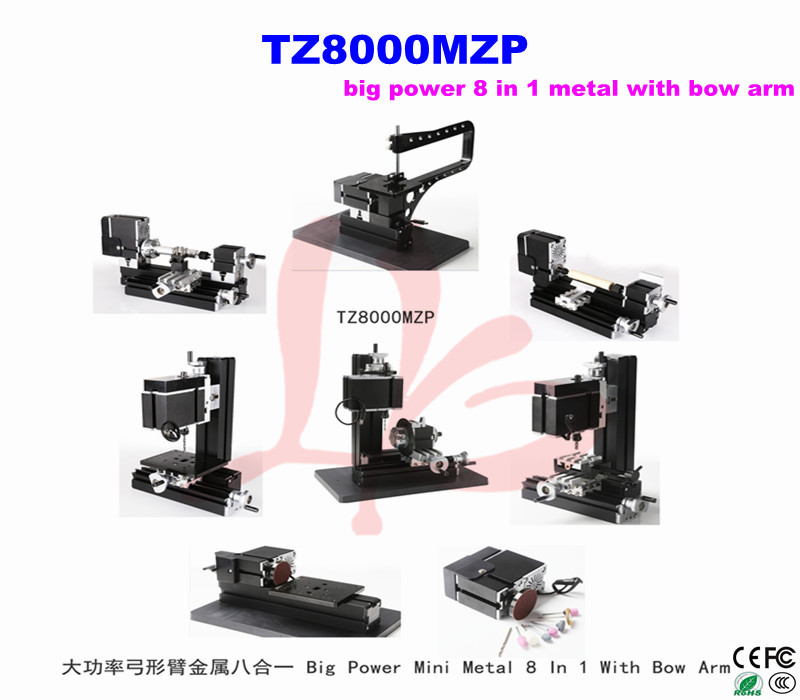 Big Power Mini Metal Bow Arm  machine 8 In 1 Kit TZ8000MZP, wood-turning lathe, mini wood lathe  12000r min 60w all metal 8 in 1 mini lathe without bow arm milling drilling wood turning jag saw sanding machine