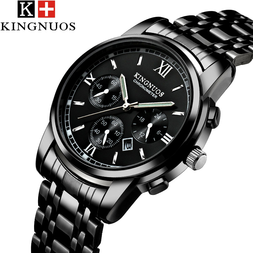 KINGNUOS 2018 Quartz Watch Men Watches Top Luxury Brand Stainless Steel WristWatch For Male Clock Man Hodinky Relogio Masculino eyki top brand men watches casual quartz wrist watches business stainless steel wristwatch for men and women male reloj clock