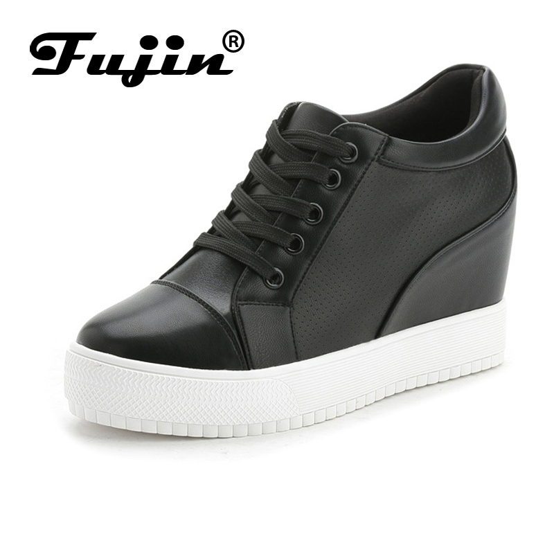 Fujin Brand Summer Breathable Shoes Women Summer wedges 7cm high platform female casual shoes shoes female pumps heel autumn