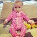 Bebê Mangas compridas de algodão flor rosa impressão Macacão Macacão pijamas Trajes infantis Crianças macio e confortável