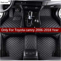 Mata błyskowa skórzane dywaniki samochodowe dla Toyota Camry 2006-2014 2015 2016 2017 2018 niestandardowe auto plastry do stóp dywan samochodowy