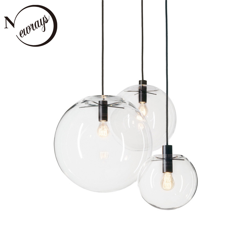 Simple modern glass ball pendant light LED E27 art deco Europe hanging lamp with 8 styles for bedroom restaurant kitchen parlor|Pendant Lights| |  - title=