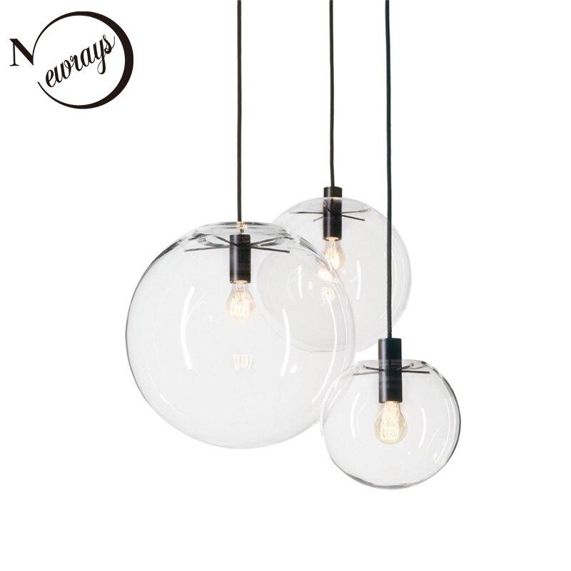 Simple moderne boule de verre pendentif lumière LED E27 art déco Europe lampe suspendue avec 8 styles pour chambre restaurant cuisine salon