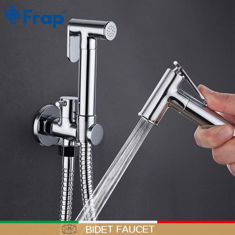 Frap Bidet Faucet Hand Shower Bathroom Bidet Shower Faucet Chrome Shower Set Toilet Bidet Brass Wall Mount Bathroom Tap Mixers