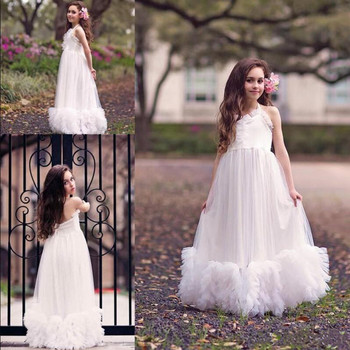 Halter Flower Girls Dresses For Weddings Open Back First Communion Dress Ruffles Cheap Toddler Pageant Dress Ankle Length Longo