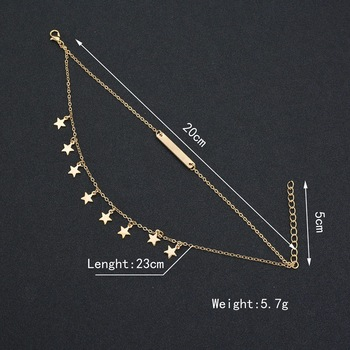 Fashion Double Layer Anklet Star Tassels Pendant Foot Chain Woman Boho Ankelt Foot Bracelet On The Leg Jewelry for Women's Gifts 2
