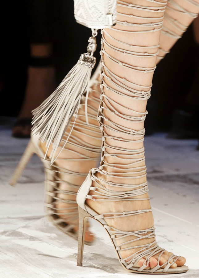 Summer Trendy Flirtiest Tasseled Beige/Black Lace-Up Boots Rope High Heel Sandal Boots Fringe Thin Strappy Shoes tasseled lace up frilled striped dress