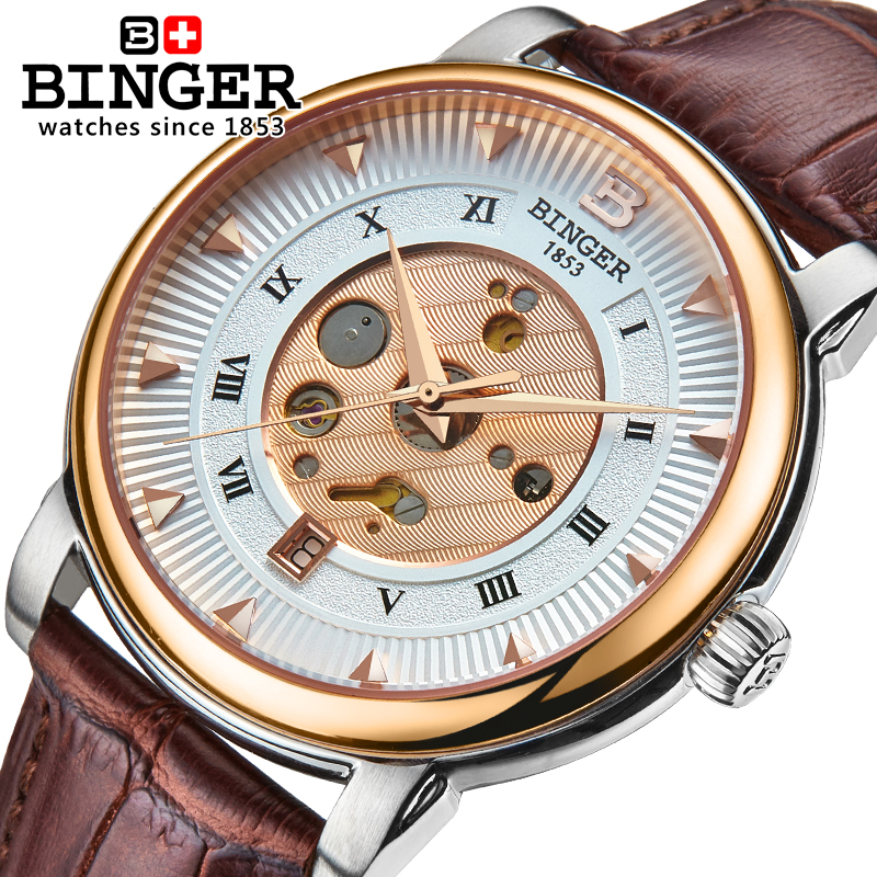 Wrist Watches Male Stainless Steel Skeleton Switzerland Automatic Mechanical Watch Men Reloj Hombre Sapphire Waterproof B-1160-4 switzerland men watch automatic mechanical binger luxury brand wrist reloj hombre men watches stainless steel sapphire b 5067m