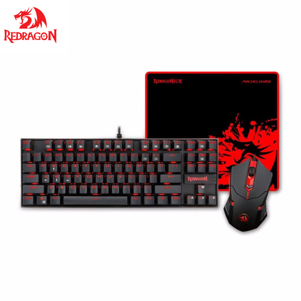купить Redragon K552-BA Gaming Keyboard and Mouse, Mouse Pad Combo, LED Backlit Mechanical Gaming Keyboard, 87 key PC Gaming Keyboard онлайн