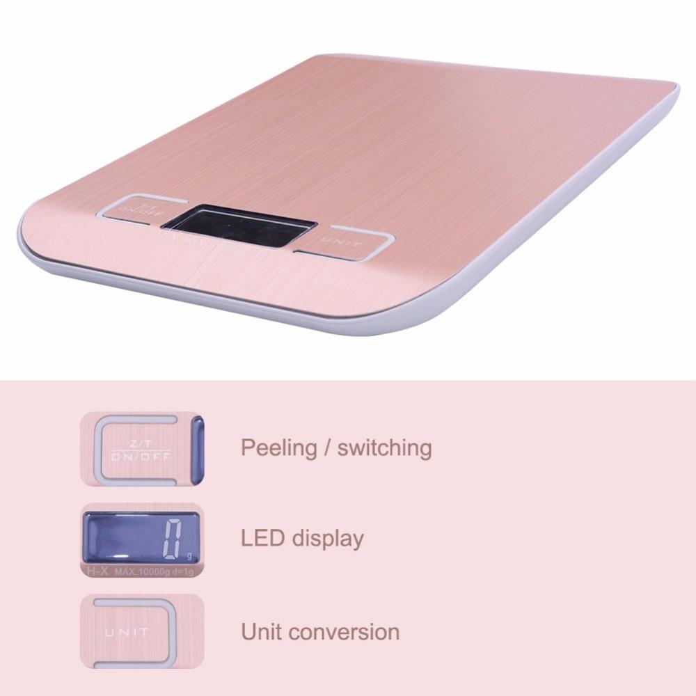 Цифровые кухонные весы yieryi, электронный прибор для измерения пищи, из нержавеющей стали, розовое золото, 10 кг/1 г-1