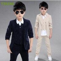 Cậu Bé bình thường Phù Hợp Với 3 cái Coat + Vest + Quần Trẻ Em Trẻ Em Blazer Wedding Suit Formal Suit Bộ Con Trai Quần Áo Trang Phục Roupas Infantis Menino
