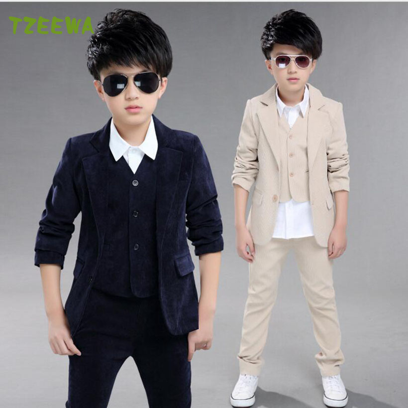 Casual Boy Suit 3pcs Coat+Vest+Pants  Children Blazer Kids Wedding Suit Formal Boys Clothing Sets Costume Roupas Infantis Menino boy blazer suit 2018 boys 3pcs plaid formal wedding suit vest coat pant brand children party tuxedos performance wear for boys
