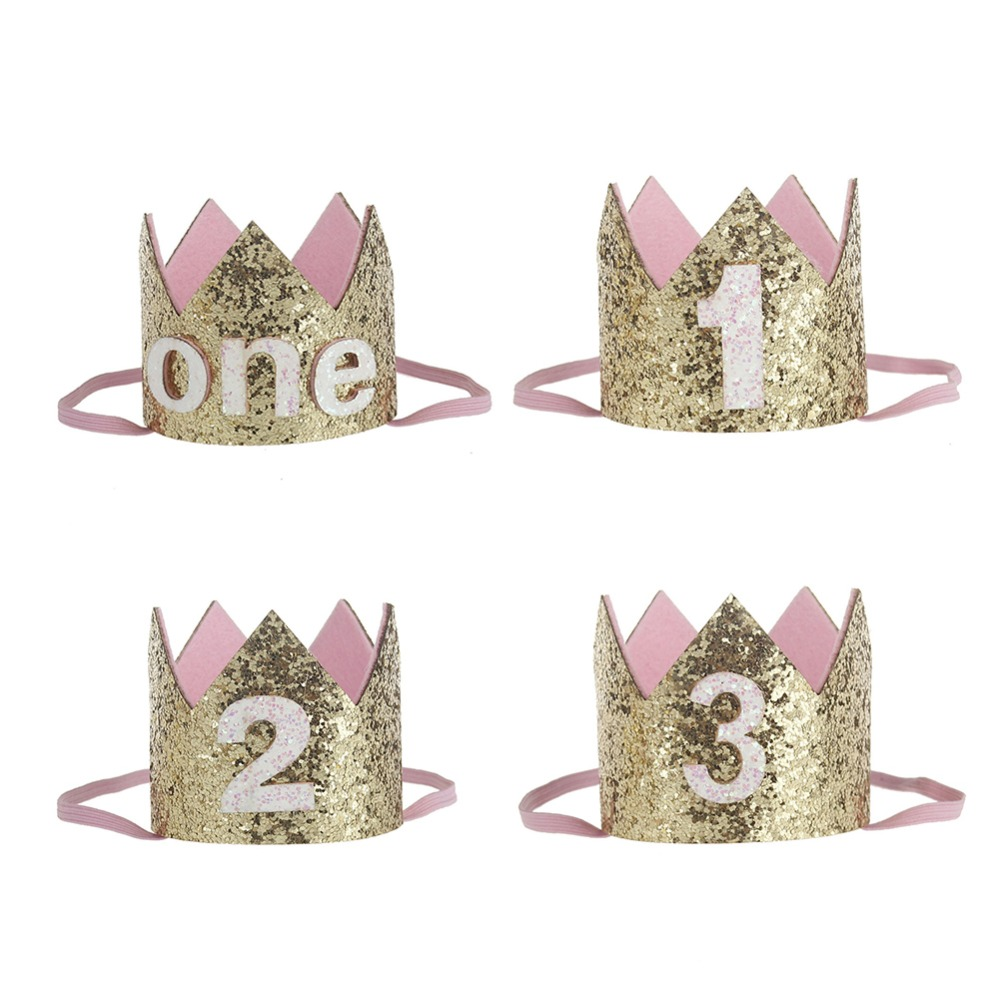 New Baby Boy Girl Princess Prince Birthday Crown Party Headdress Gold One Two Three Years Old Glitter Party Cartoon Hats Gifts