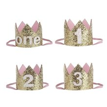 New Baby boy girl princess prince Birthday Crown Party Headdress Gold One Two Three Years Old Glitter Party Cartoon Hats Gifts(China)