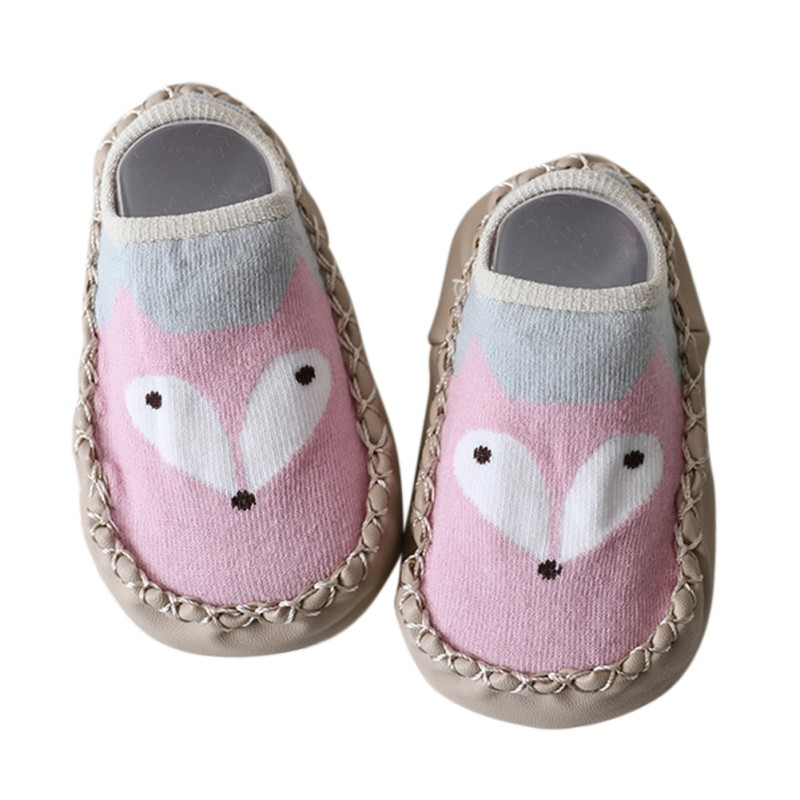 Baby Shoes Newborn Boys Girls Sock Style Anti-Slip Soft PU Leather Cotton Moccasins Cartoon Fox Dog Pattern First Walkers