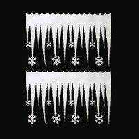 2X Snowflake Ice Christmas Strip Xmas Decoration Ornament Festival Party 66*36CM