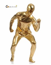 2017 Shiny Lycra Spandex Shiny Champagne Mens Unitard Catsuits Metallic Footed Zipper Zentai Bodysuit