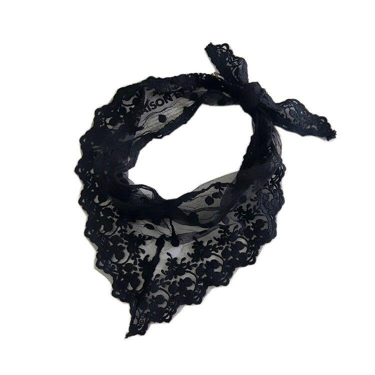 Summer Lady Lace Tassel Triangle Scarf Sheer neckerchief Women Bandage Floral Scarves Shawl Female Bufanda Mujer black white(China)
