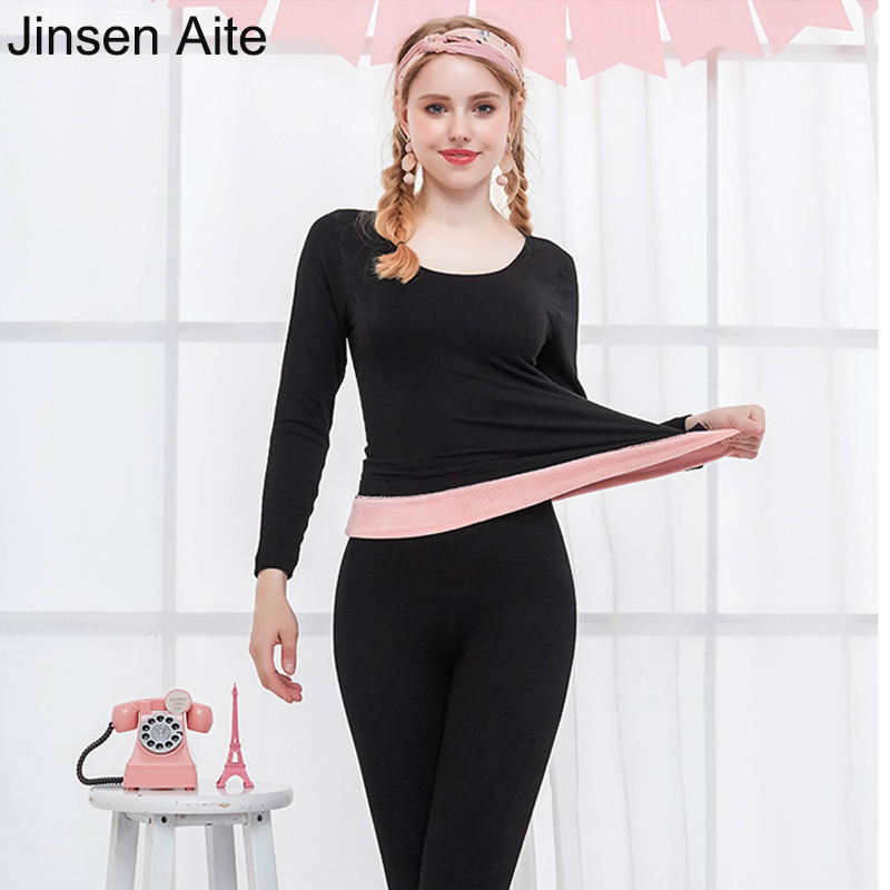 Jinsen Aite 2018 Winter Thicken Fleece Keep Warm Women's Long Johns Slimming Body Super Soft Ladies Thermal Underwear Sets JS700