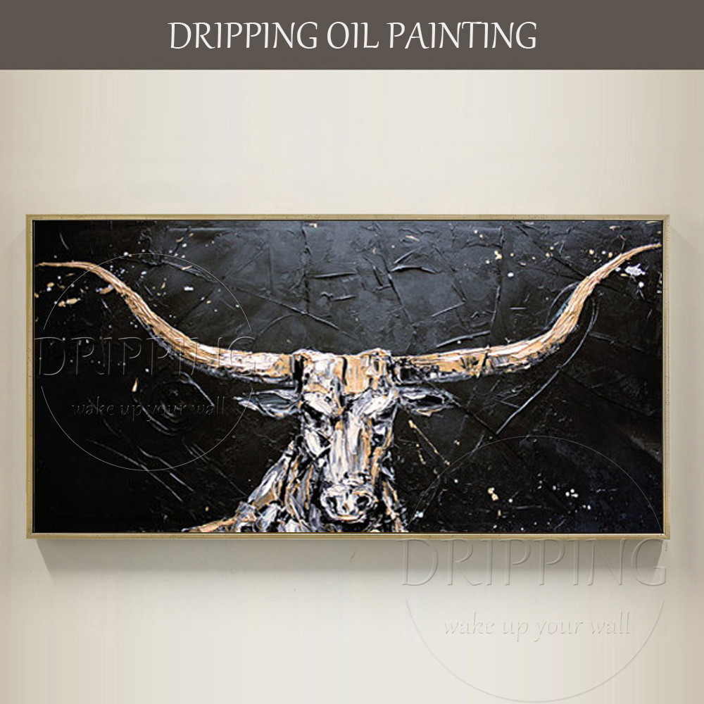 Skilled Artist Hand painted High Quality Texas Longhorns Oil Painting for Wall Decor Hand painted American Bull Oil Painting-in Painting & Calligraphy from Home & Garden    1