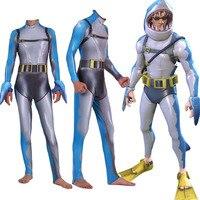 Game Battle Royale Shark Kid Adult Cosplay Costume Zentai Bodysuit Fortniter Suit Jumpsuits