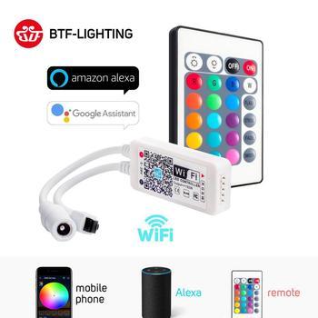 DC5-28V Мини WiFi WS2812B RGB RGBW Светодиодная лента контроллер Amazon Alexa Google Phone IOS/Android APP Bluetooth WiFi управление