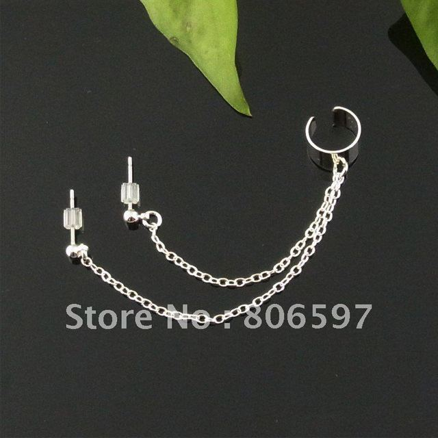 WHHEC056,New arrival two ear hole silver ear cuffs,Specially designed for two ear hole clip earrings