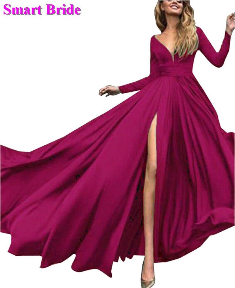 V Neck   Prom     Dresses   Long A Line Full Sleeves Split Satin Bridesmaid Elegant Gowns For Women 2019 PD81