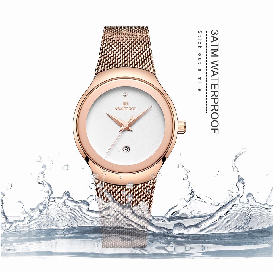 NAVIFORCE Women's Watches Fashion Girl Wristwatch Luxury Quartz Watch Women Stainless Steel Mesh Bracelet Clock Bayan Kol Saati (4)