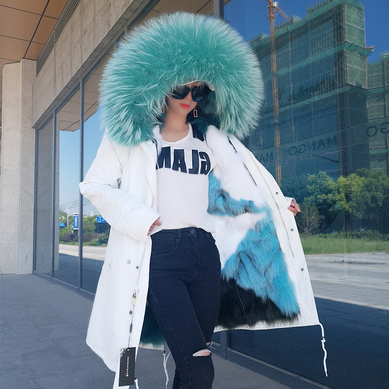 Womens Winter Fashion 2018 Colorful Fur Coats Women Long Hooded Fox Fur Liner Jacket Raccoon Fur Collar Thick Cotton   Parkas