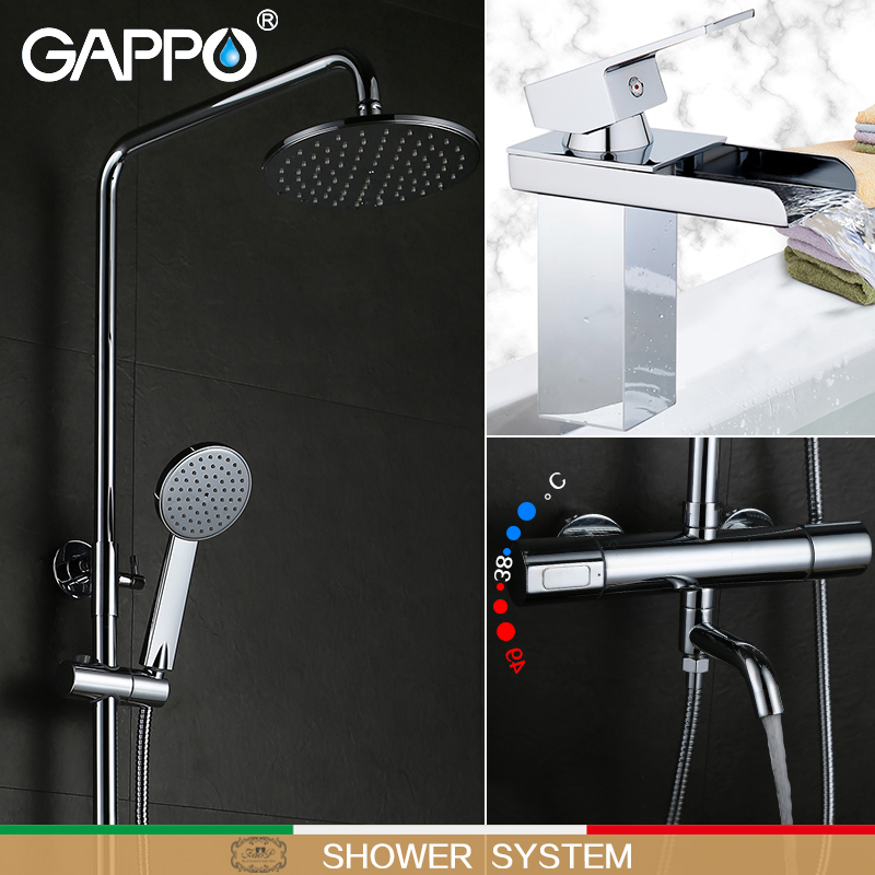 GAPPO bathroom shower thermostat faucet mixer tap wall mount thermostatic shower mixer with shower faucets basin faucet tap