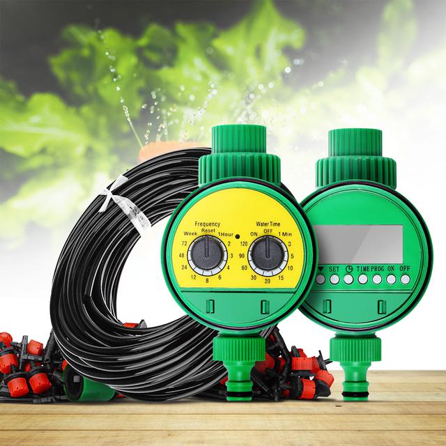 25m Micro Drip Irrigation System Plant Automatic Spray Greenhouse Watering Kits Timer Garden Hose AdjustableDripper Sprinkler