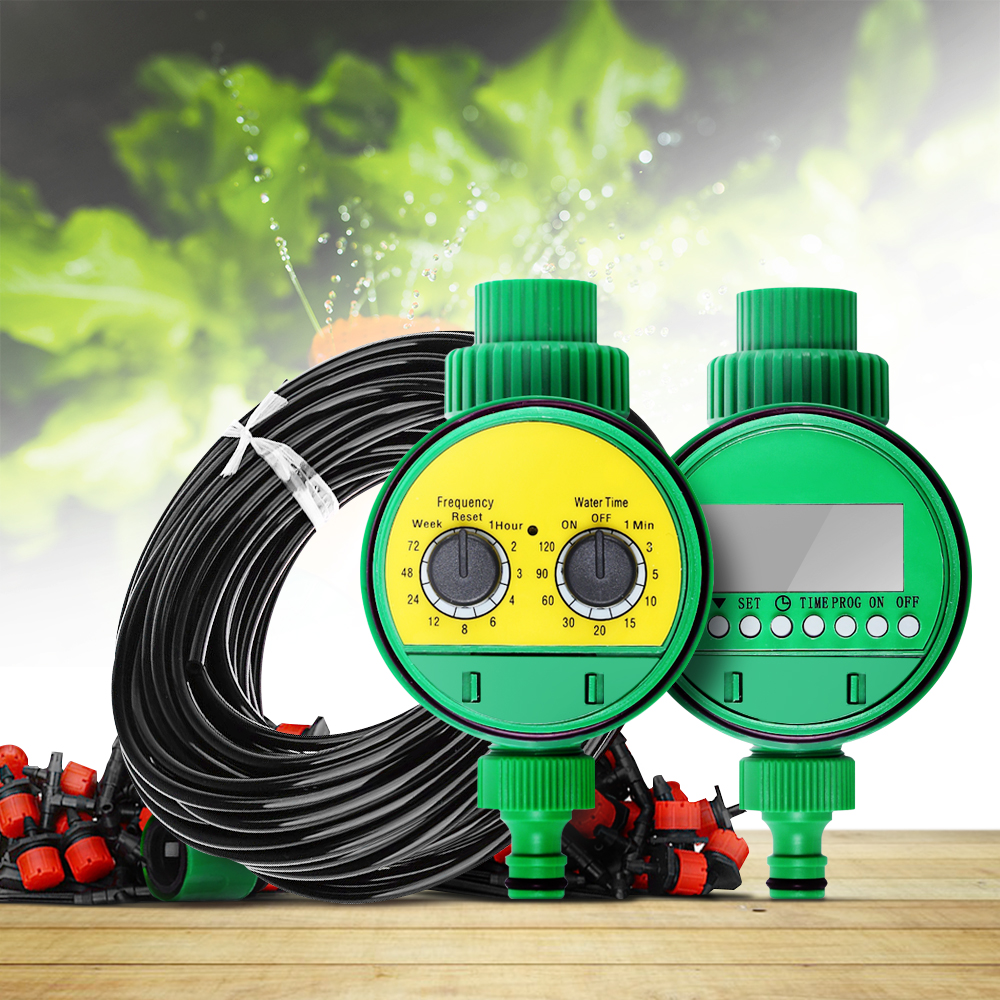 25m Micro Drip Irrigation System Plant Automatic Spray Greenhouse Watering Kits Timer Garden Hose AdjustableDripper Sprinkler XJ