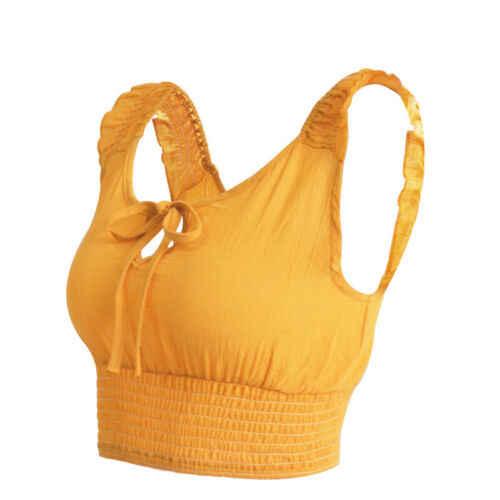 אופנה מקרית Slim מוצק ראפלס סקסי נשים Slim Fit Vest Cami יבול חולצות קיץ טנק בסוודרים בגדים