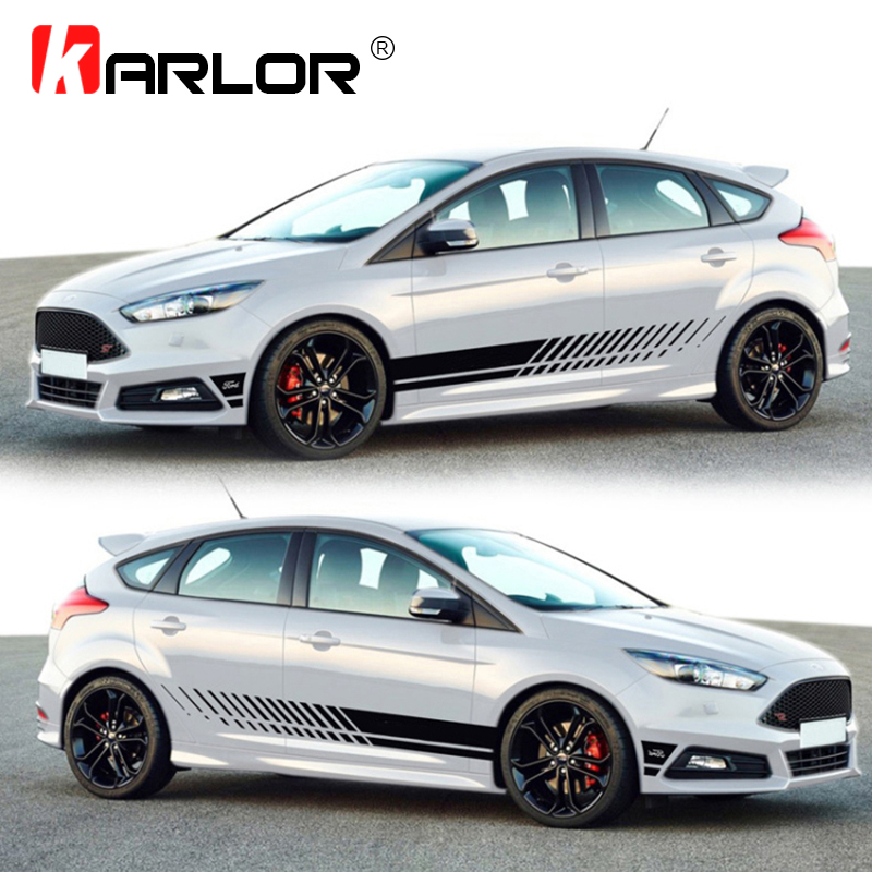 Universal Racing Car Waist Side Skirt Decoration Sticker Decal Vinyl For Auto Scirocco Golf Fiesta Mini Cooper Seat Leon Smart car decoration decal side door sticker for italian flag logo vw polo golf ford fiesta fiat 500 500x punto panda lancia ypslion