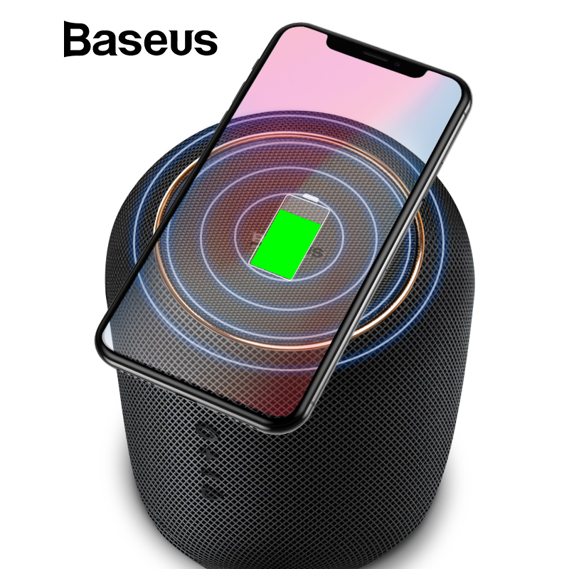 Baseus E50 Bluetooth Speaker with Qi Wireless Charger Portable Desktop Bass Speaker 24W Fast Charging for iPhone X Galaxy S8