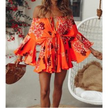 2019 Summer Women Off Shoulder Boho Palysuit Sexy Floral Beach Short Jumpsuit Flare Sleeve Casual Romper