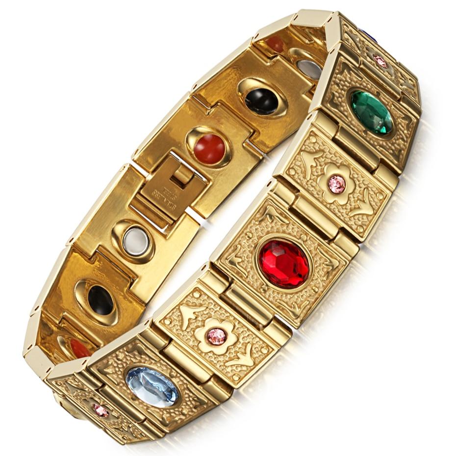 Rainso Stainless Steel Bio Energy Bracelet Fashion Health FIR Bangle Magnetic Jewelry Bracelets For lady 6