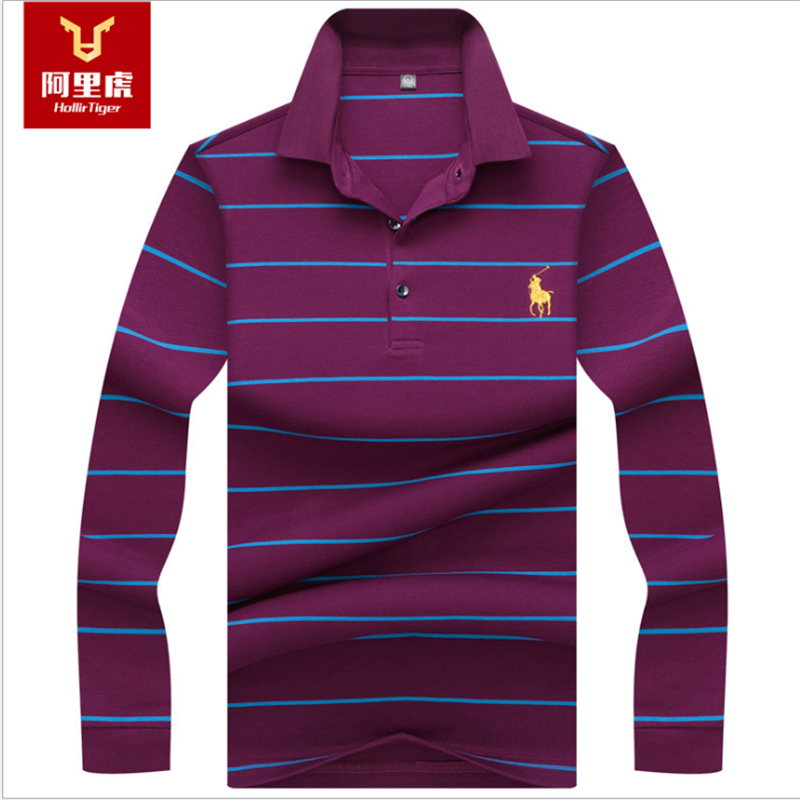 Hollirtiger New   Polo   Hombre Shirt Men Fashion Collar shirts Long Sleeve Casual   Polos   Sweatshirts 100% Cotton Camisa   Polos