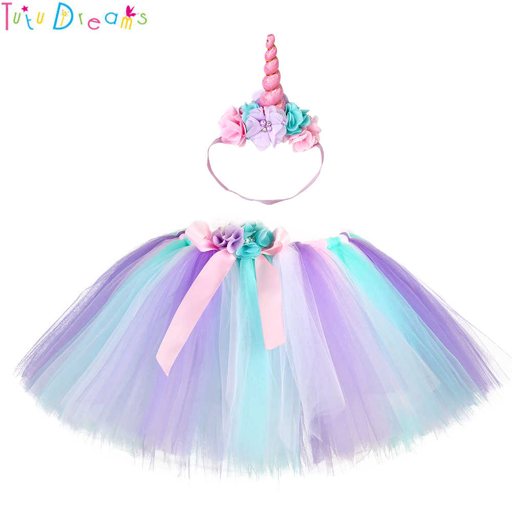 17e674d2f3e80 Pastel Unicorn Tutu Skirt with Flower Headband Children Bustle Birthday  Party Tulle Tutu Skirts For Photos