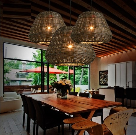 Creative Hand Woven Rattan Droplight Modern LED Pendant Light Fixtures For Dining Room Hanging Lamp Lamparas Colgantes In Lights From