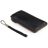 Black Cowhide Male Clutch Wallets Glossy Genuine Leather Men Long Purse Man Hand Take Notecase With Multi Card Holders PR578048A