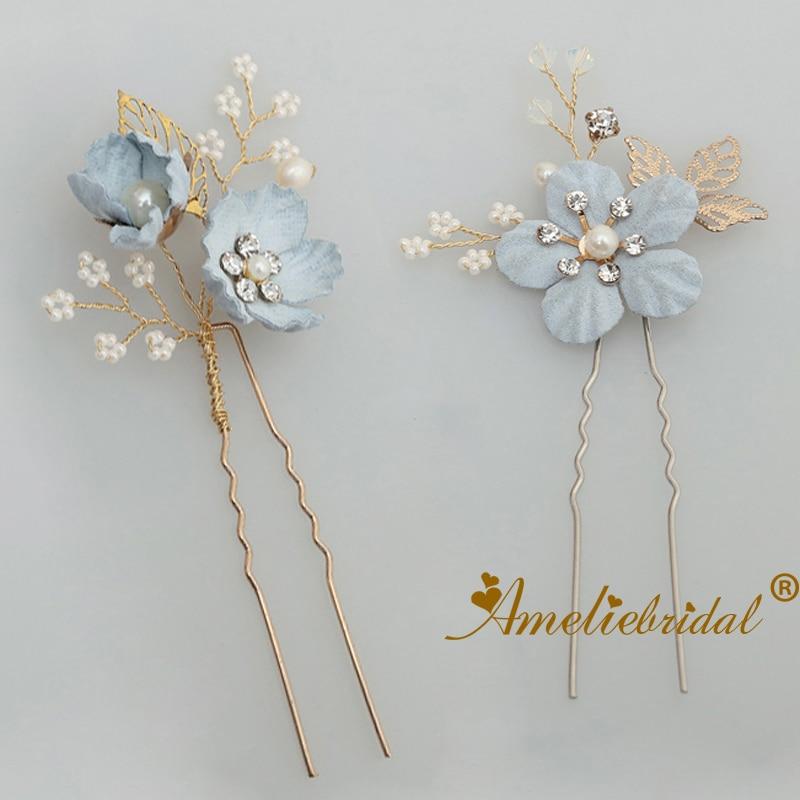 Flower Hair Pins For Wedding: Cute Wedding Bobby Jewelry Blue Flower Bridal Hair Pins