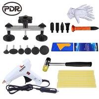 PDR Paintless car dent repair tool kit 12v car charger glue gun pulling bridge hammer tap down pen DIY hand tool set