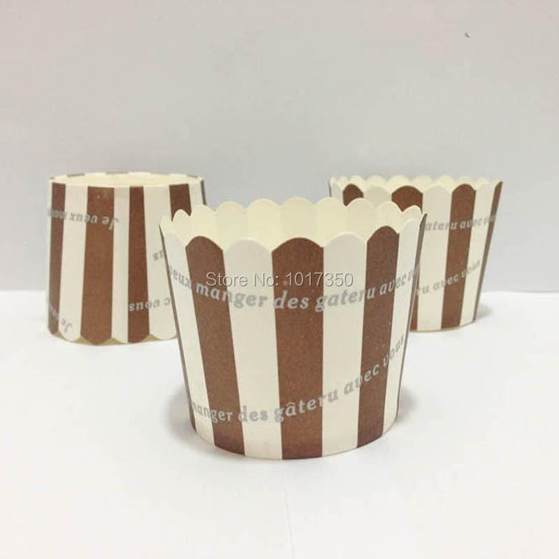 Chocolate brown stripes <font><b>cupcake</b></font> liners paper baking <font><b>cups</b></font> muffin case bakeware wedding/<font><b>birthday</b></font> <font><b>cupcake</b></font> <font><b>cups</b></font> muffin <font><b>cups</b></font> 100pcs