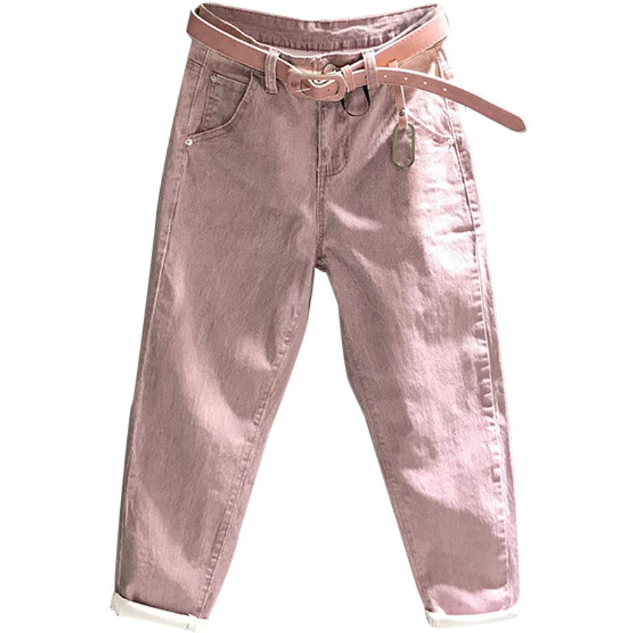 Fashion Harem Jeans Women High Waist Casual Washed Denim Elastic Jeans Loose Pink Ankle Length Jeans