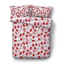 Strawberry bed sheet 3D Bedding set Luxury Cotton quilt duvet cover fruit sheets linen Super King Queen size full twin 4pcs