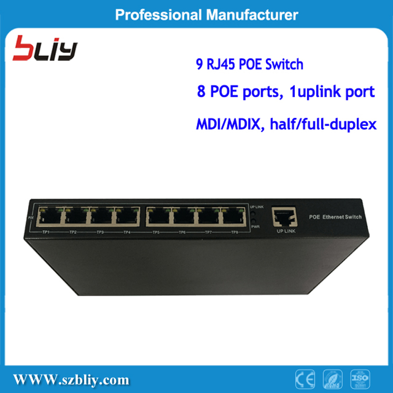 лучшая цена 9 Port Fast Ethernet Network POE Passive Switch Oem Smart 48V 8 RJ45 Port 1 Uplink Outdoor Port Power Over Ethernet Switch